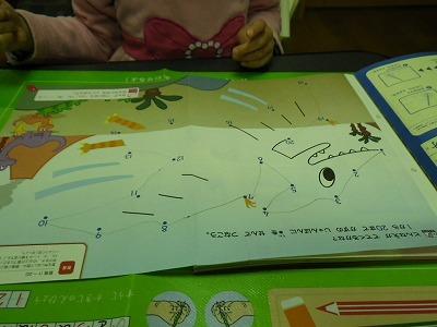 数字をつなげて恐竜を描く